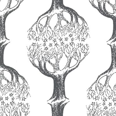 Celesta Grey Tree Wallpaper