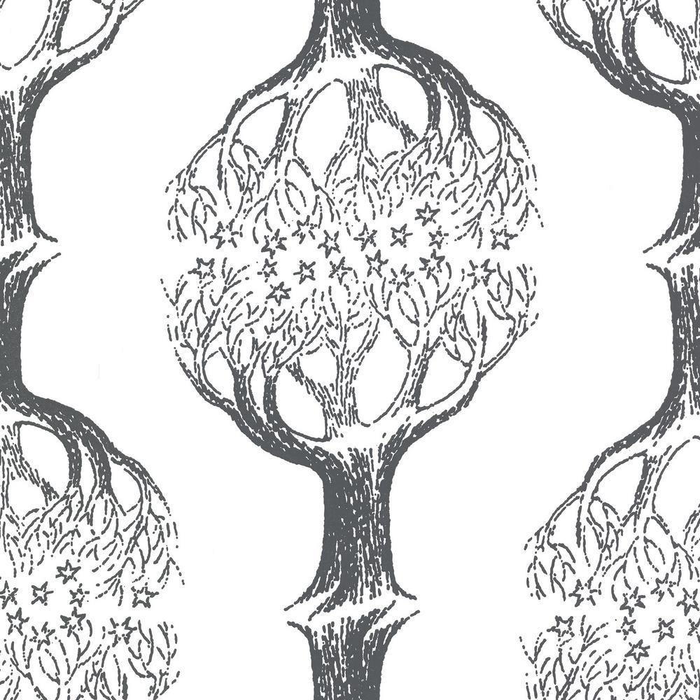 Celesta Grey Tree Wallpaper Sample