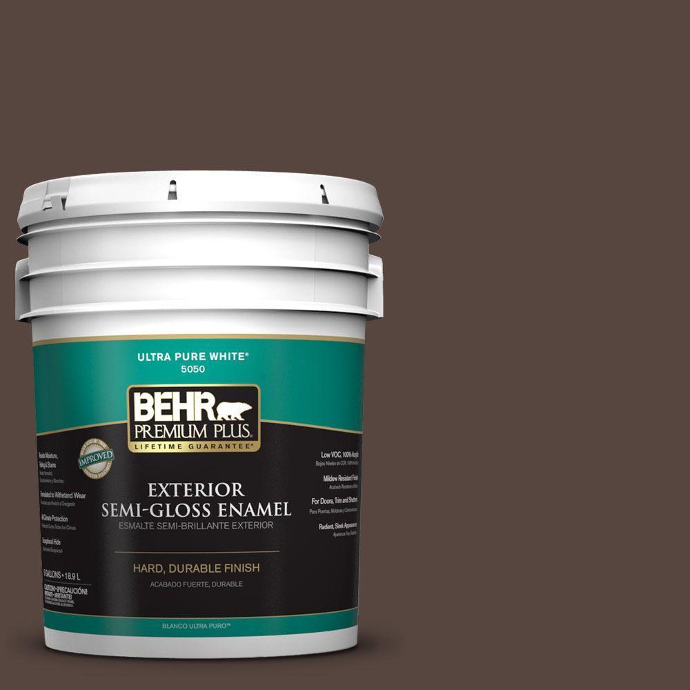 BEHR Premium Plus 5-gal. #PMD-91 Iced Espresso Semi-Gloss Enamel Exterior Paint