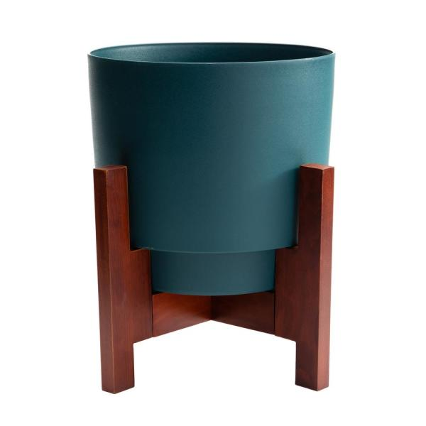 Hopson Medium 10 in. Charleston Green Plastic Planter with Wood Stand