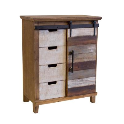 Antique Barn Wood Accent Cabinet Fully Assembled with 4-Drawers and 2-Shelves with a Fashionable Barn Style Sliding door
