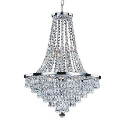 Vista 9-Light Crystal and Chrome Frame Chandelier