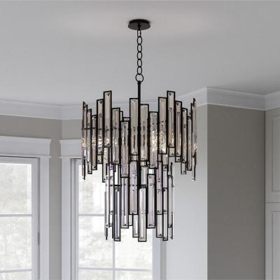 Madison 4-Light Aged Bronze Chandelier with Crystal Prisms