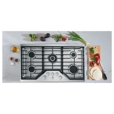 36 in. Gas Cooktop in Stainless Steel and Brushed Stainless with 5 Burners Including 20,000 BTU Triple Ring Burner