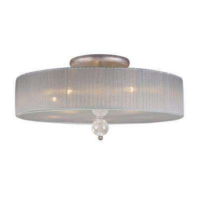 Alexis 5-Light Antique Silver Ceiling Semi-Flush Mount Light