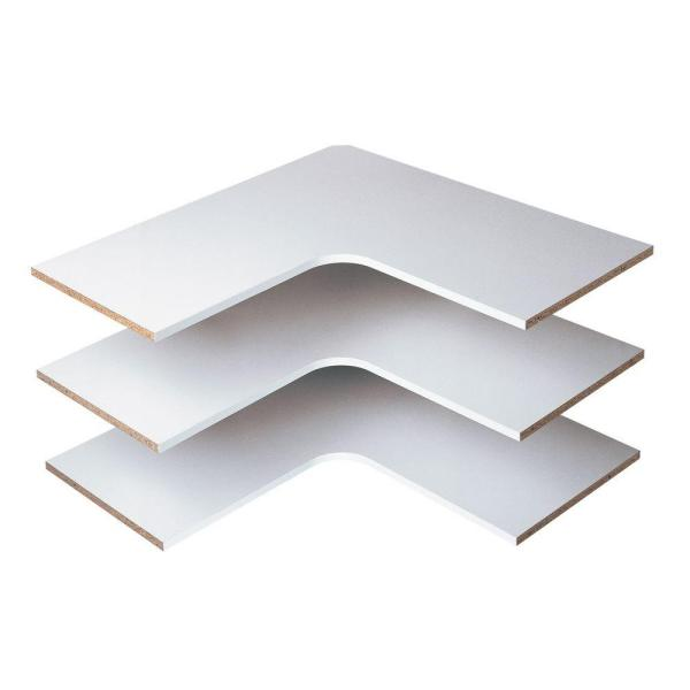 30 in. D x 30 in. W Classic White Wood Corner Shelf (3-Pack)