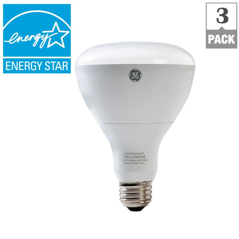 GE 65W Equivalent Soft White BR30 Dimmable LED Light Bulb (3-Pack)