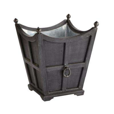 Tuxedo 24-1/2 in. Square Black Galvanized Wooden Planter