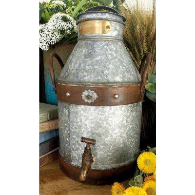11 in. x 16 in. Distressed Gray and Red Rust Iron Milk Can with Brass-Finished Faucet and 2 Handles