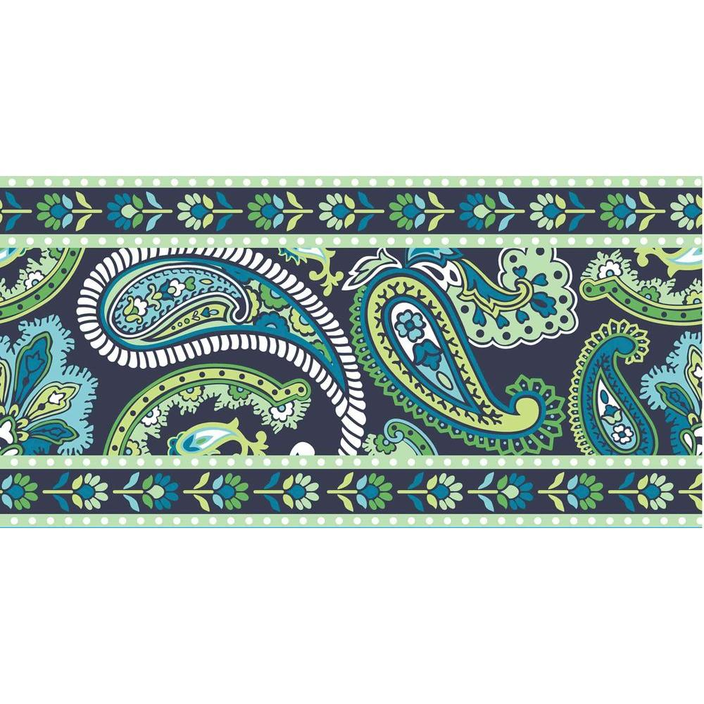 WallPOPs 16 ft. x 6.5 in. Paisley Please Stripe Blue/Green 2-Pack Wall Decal-DISCONTINUED