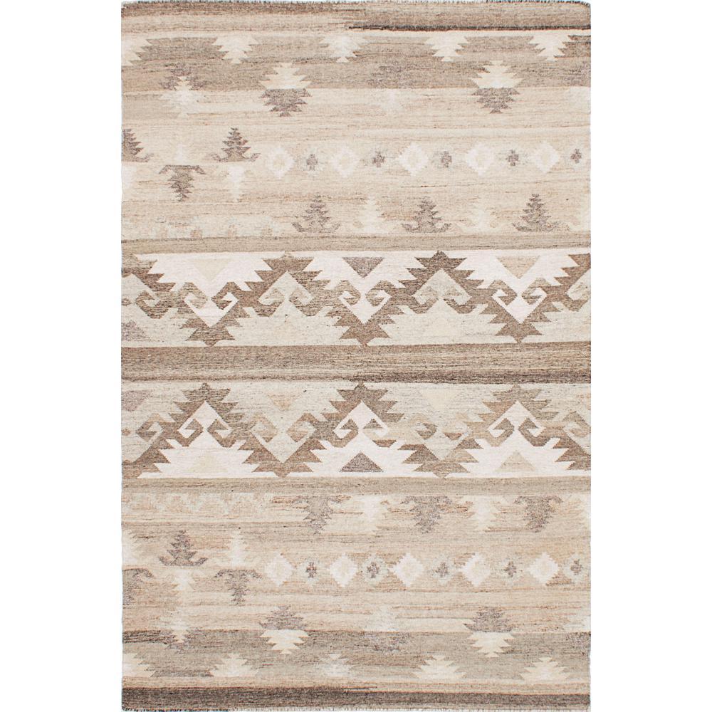 Tribeca M33776 Brown, Ivory Wool Kilim 8 ft. x 10 ft. Area Rug