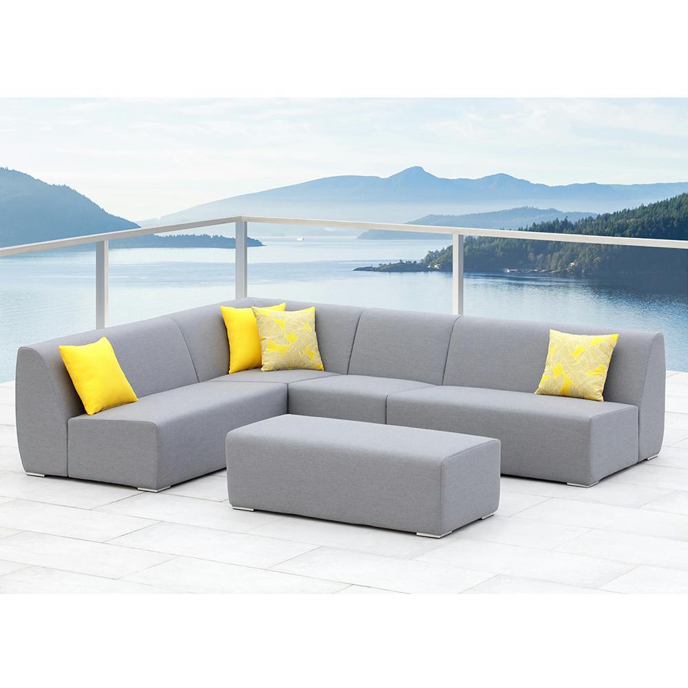 Bayview Grey 5-Piece Aluminum Outdoor Sectional Set with Sunbrella Grey Cushions