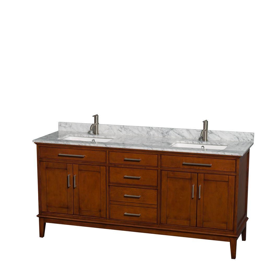Wyndham Collection Hatton 72 in. Double Vanity in Light Chestnut with Marble Vanity Top in Carrara White and Square Sinks