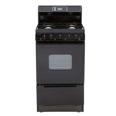 20 in. 2.42 cu. ft. Gas Range in Black