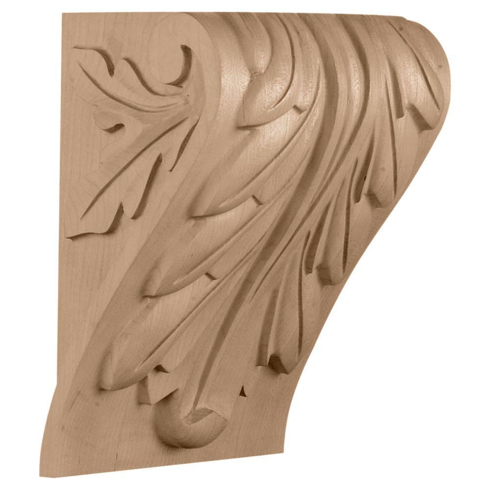 Ekena Millwork 6-3/4 in. x 5-1/2 in. x 9-1/2 in. Maple Medium Block Acanthus Leaf Corbel