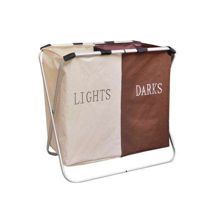 White and Brown Oxford Cloth Folding Double Lattice Fabric Dirty Clothes Storage Laundry Basket