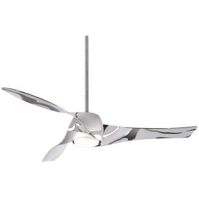 Artemis 58 in. Integrated LED Indoor Liquid Nickel Ceiling Fan with Light with Wall Control