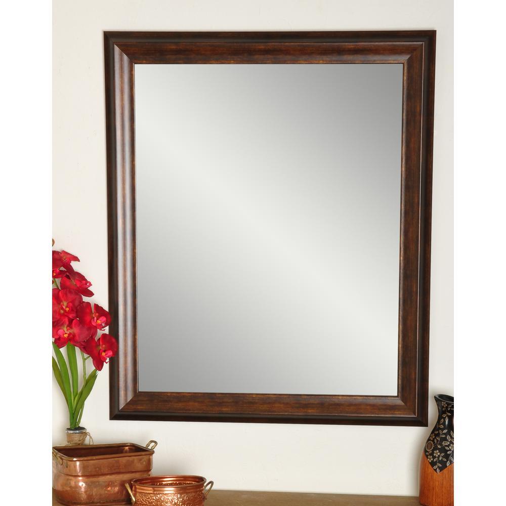 Vintage 27 in. W x 33 in. H Framed Rectangular Bathroom Vanity Mirror in Brown/Copper