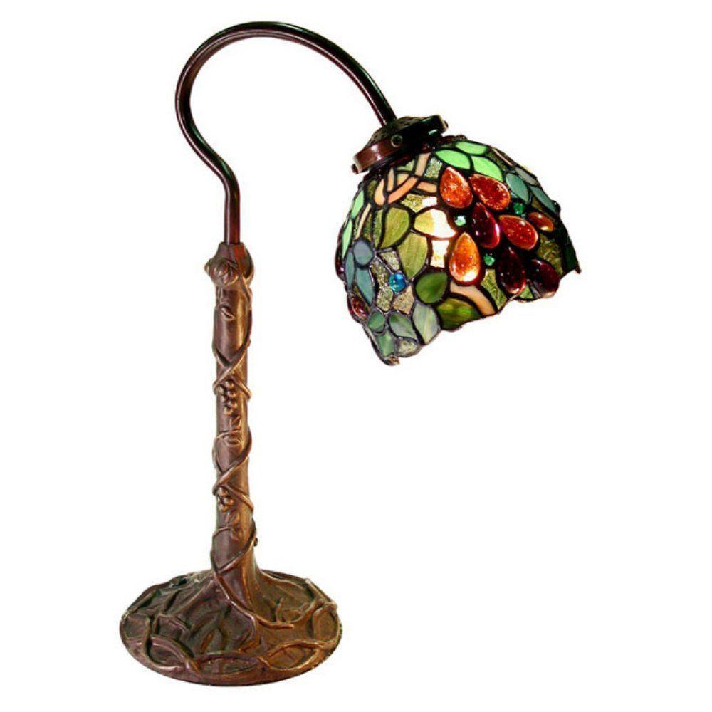 18 in. Grape Bronze/Multicolored Desk Lamp with Inline Switch