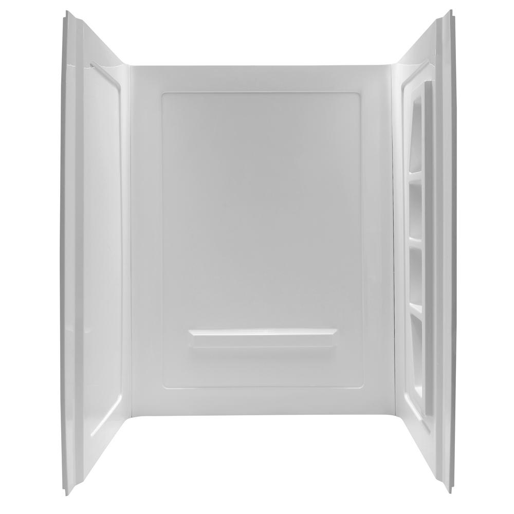 ANZZI Forum 60 in. x 36 in. x 74 in. 3-piece Direct-to-Stud Alcove Shower Surround in White