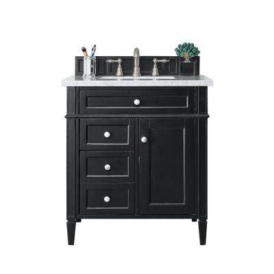 Brittany 30 in. W Single Vanity in Black Onyx with Marble Vanity Top in Carrara White with White Basin