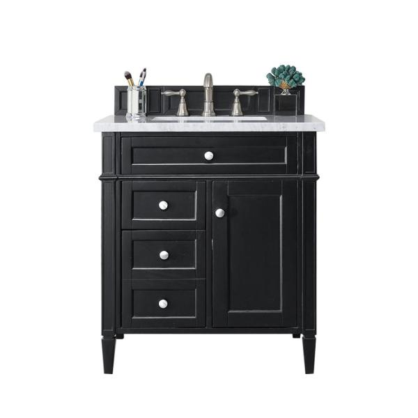 Brittany 30 in. W Single Bath Vanity in Black Onyx with Marble Vanity Top in Carrara White with White Basin