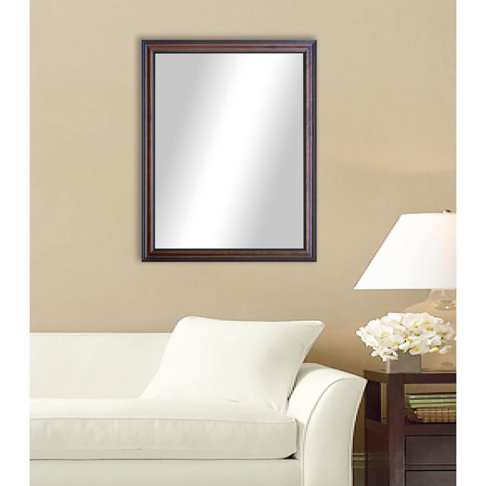 38.5 in. x 44.5 in. Missouri Walnut Non Beveled Vanity Wall Mirror