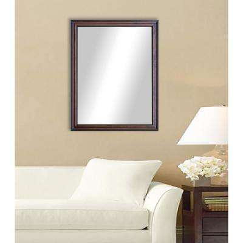 35 in. x 23 in. American Walnut Non Beveled Vanity Wall Mirror