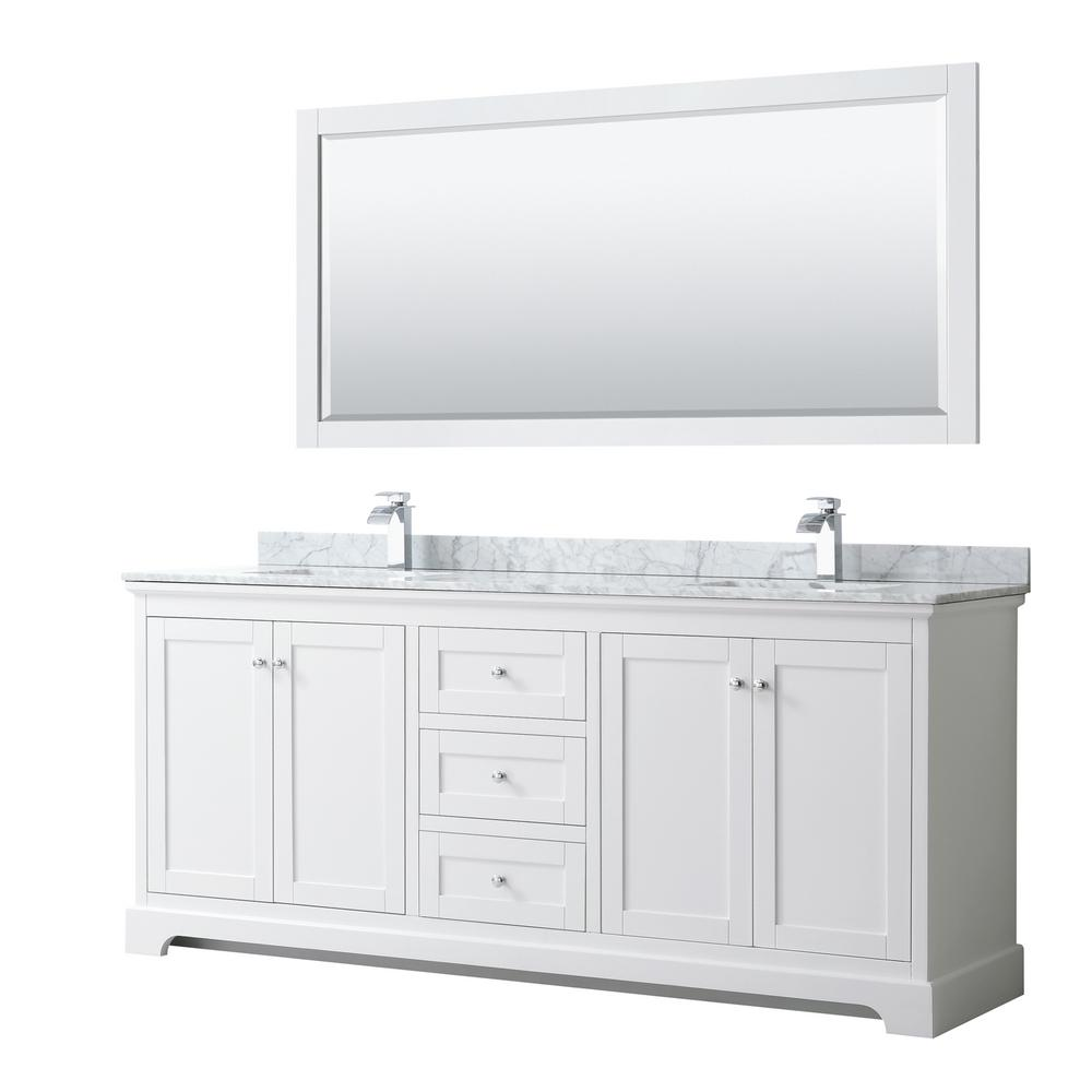 Wyndham Collection Avery 80 in. W x 22 in. D Bath Vanity in White with Marble Vanity Top in White Carrara with White Basins and Mirror