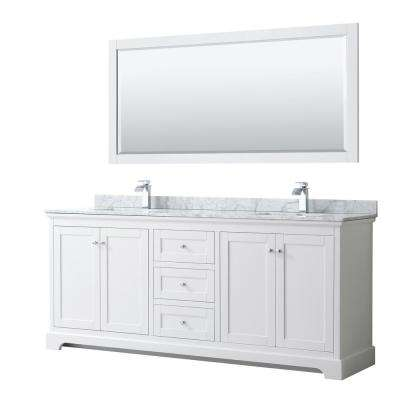 Avery 80 in. W x 22 in. D Bath Vanity in White with Marble Vanity Top in White Carrara with White Basins and Mirror