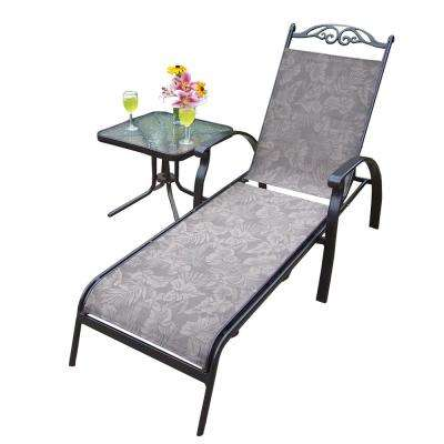 Cascade Coffee 2-Piece Aluminum Outdoor Sling Chaise Lounge Set