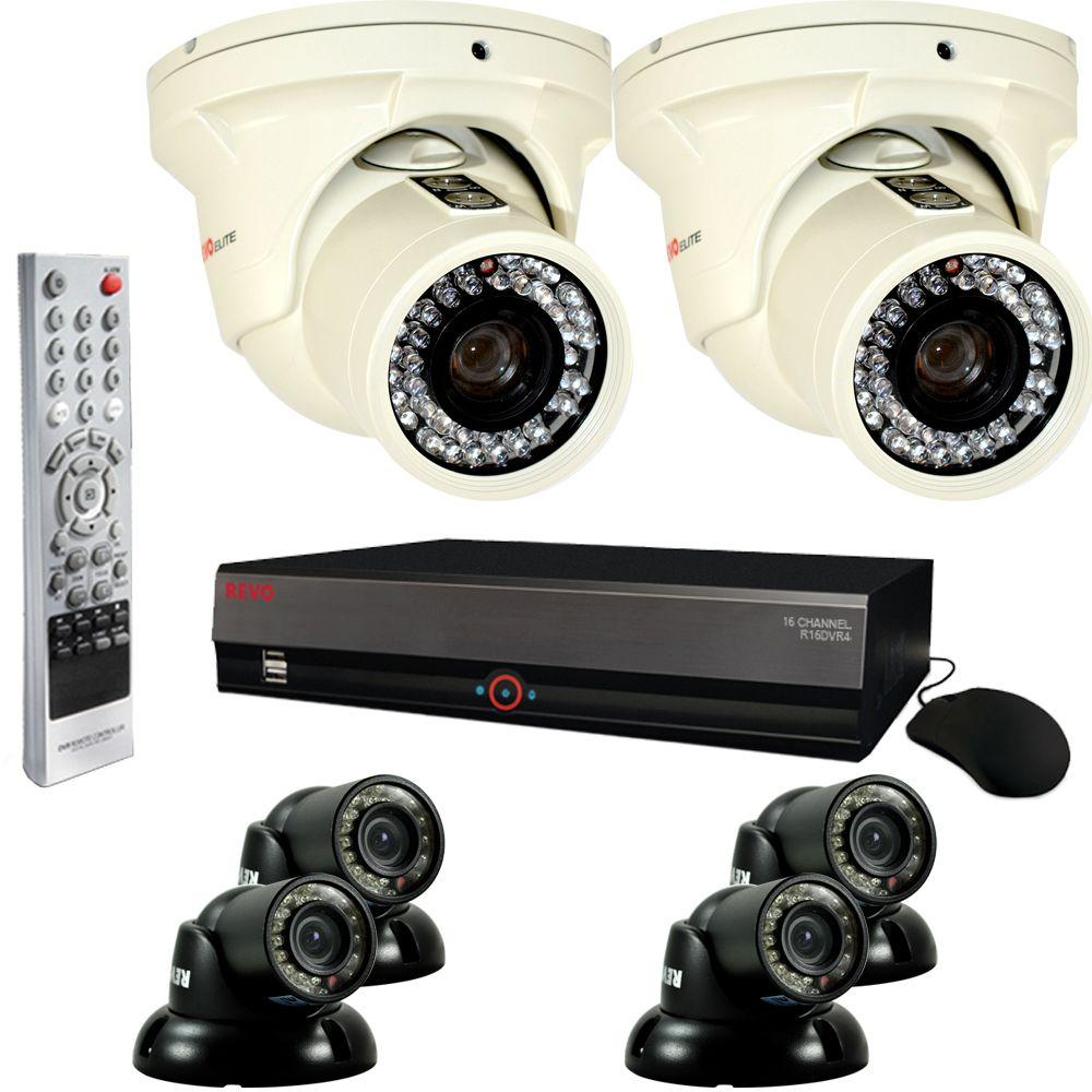 Revo Elite 16 CH 4TB Surveillance System with 4 Mini Turret Cameras and 2 Elite Turret Cameras-DISCONTINUED