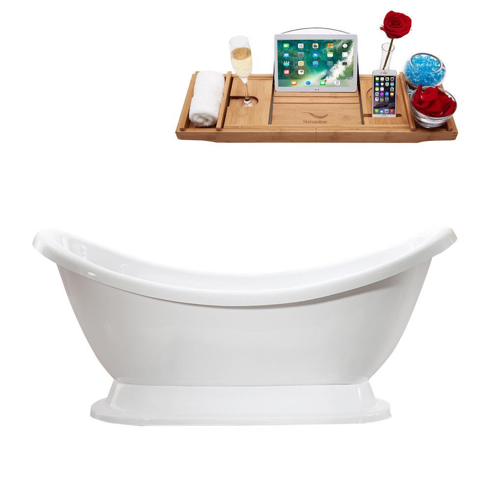 68.9 in. Acrylic Flatbottom Non-Whirlpool Bathtub in White