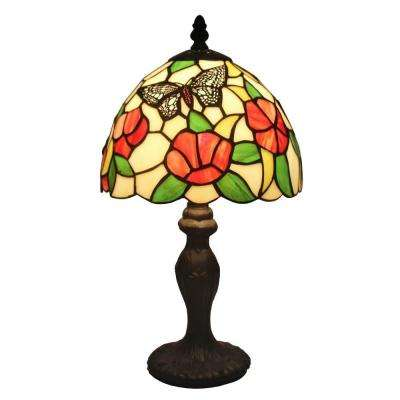 14.5 in. Tiffany Style Flowers and Butterflies Design Table Lamp