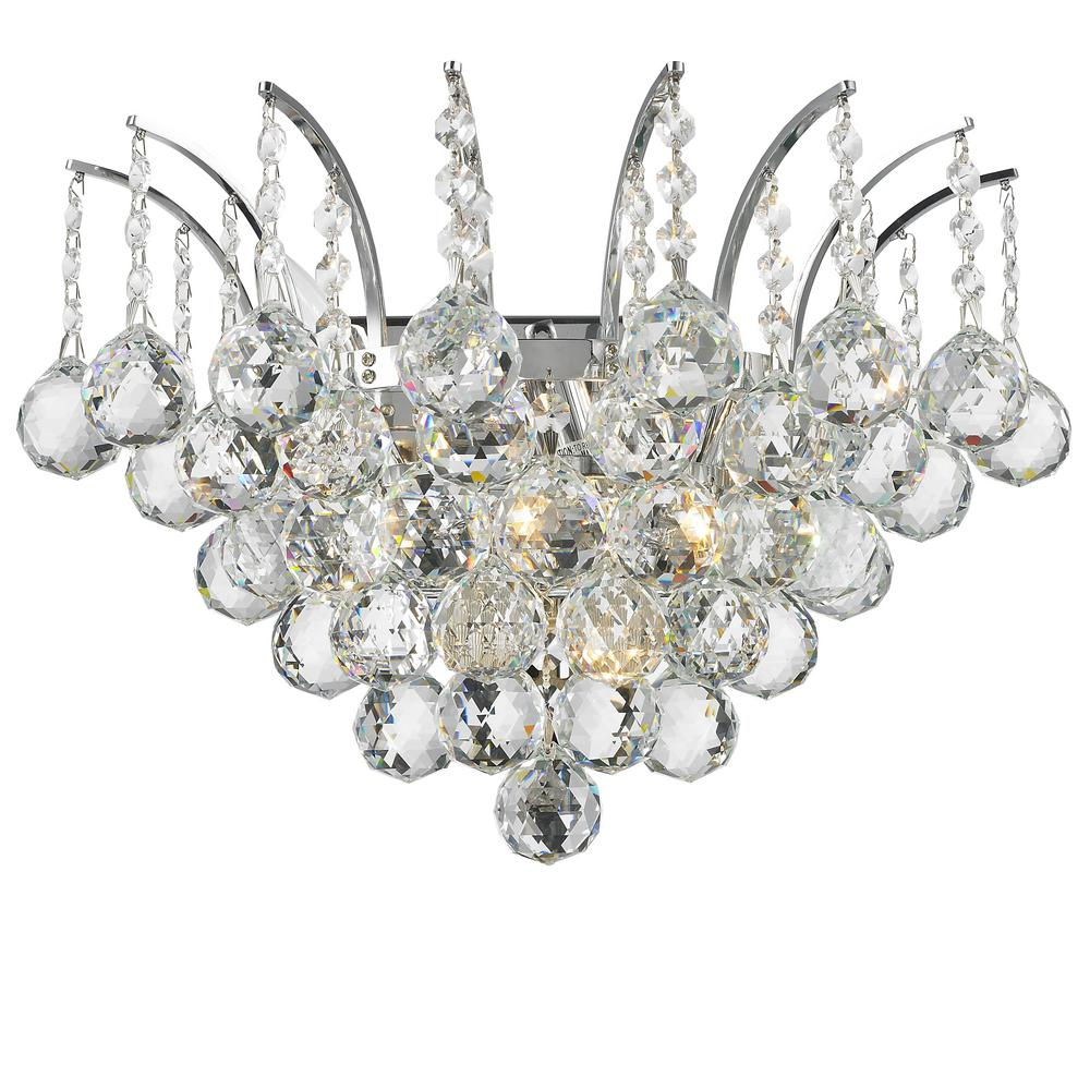 Worldwide Lighting Empire Collection 3-Light Chrome and Crystal Sconce