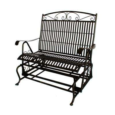 43 in. Black Steel Outdoor Double Glider