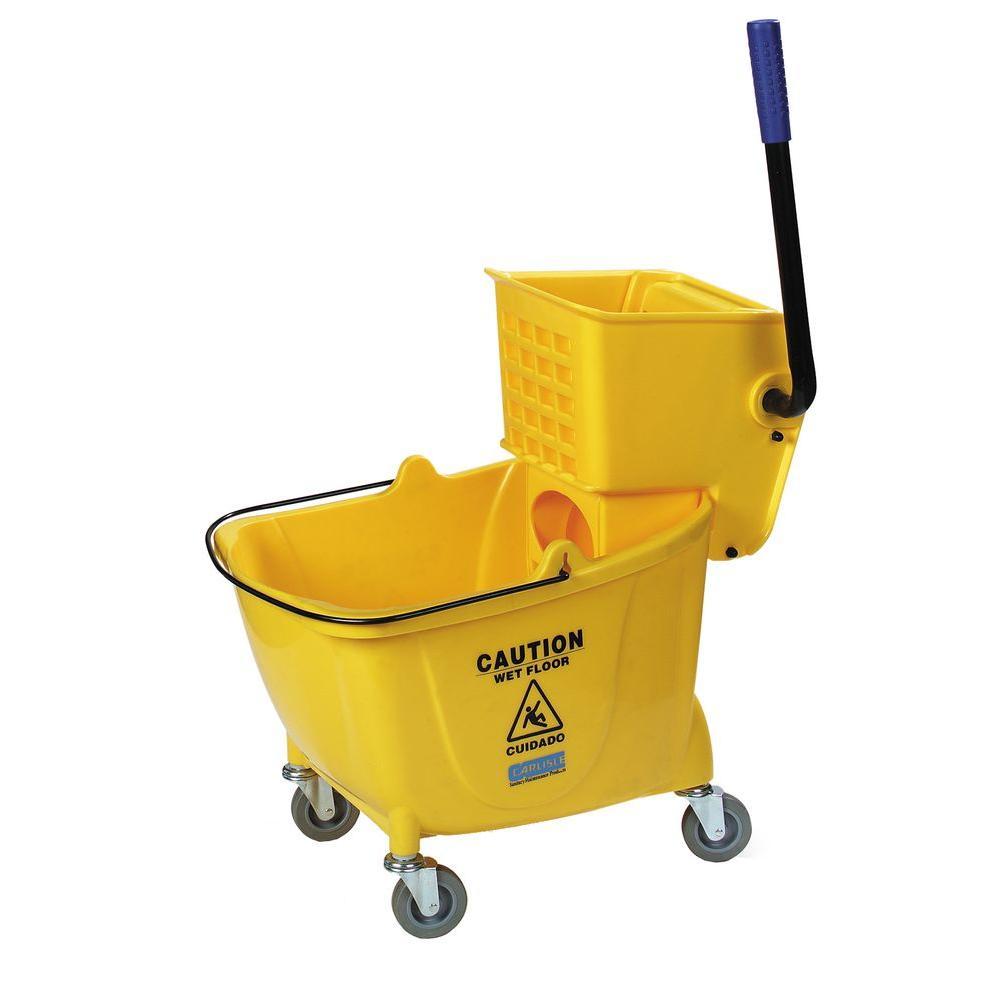 Carlisle 35 Qt Yellow Wringer Mop Bucket 3690404 The