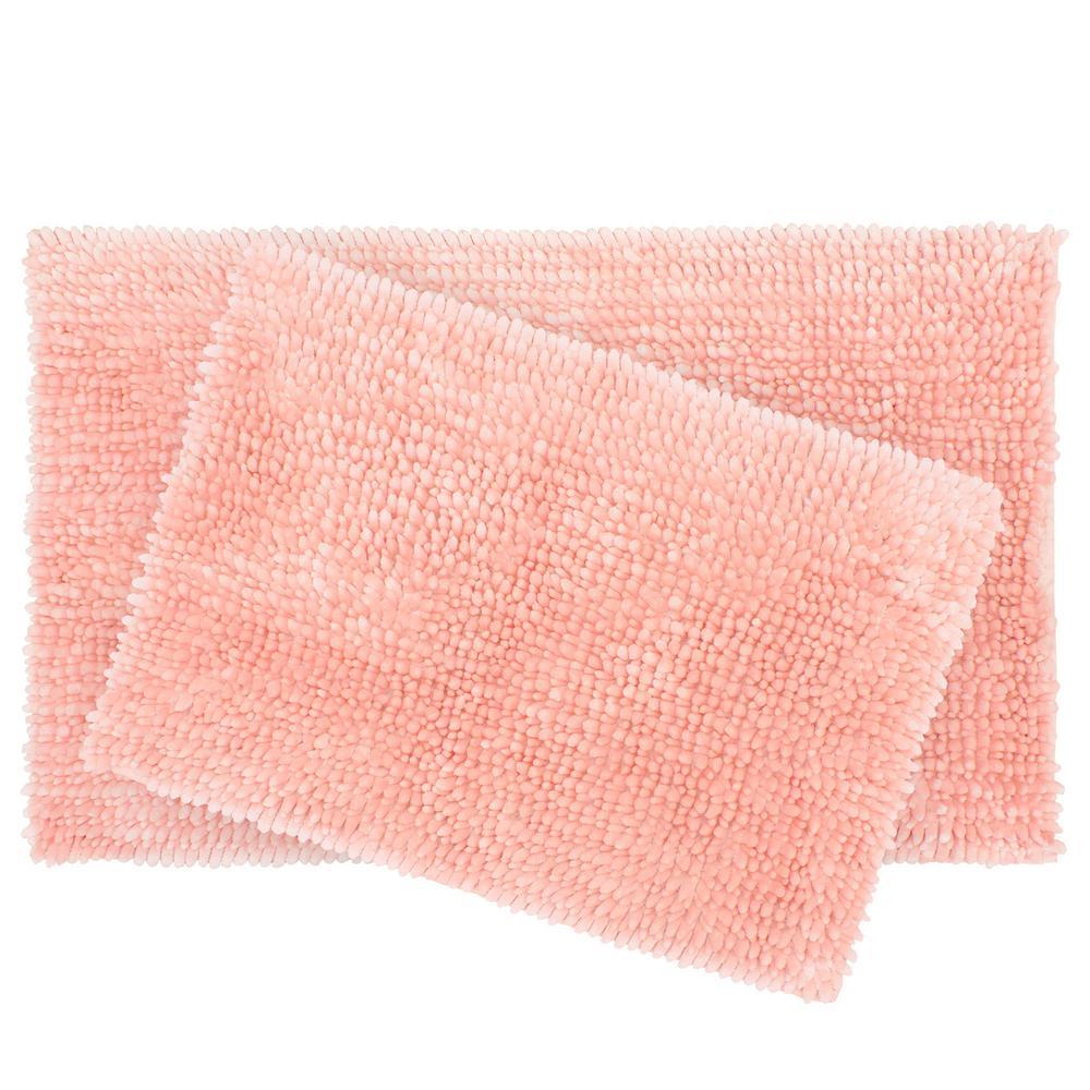 Butter Chenille 17 in. x 24 in./20 in. x 34 in. 2-Piece Bath Mat Set, Pink Mist