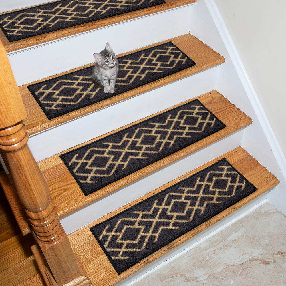 Ottohome Collection Black 9 in. x 26 in. Polypropylene Stair Tread