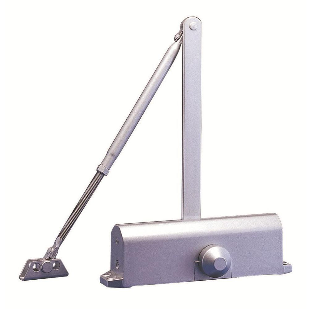 Surface Mounted Door Closer Adjustable Power in Silver (Size 1-4)