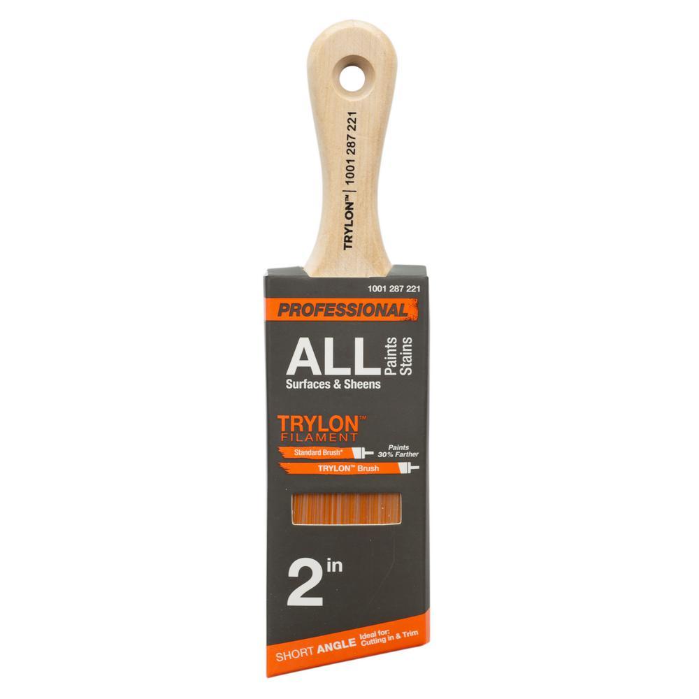 PRO 2 in. Trylon Short Cut Angled Sash Paint Brush