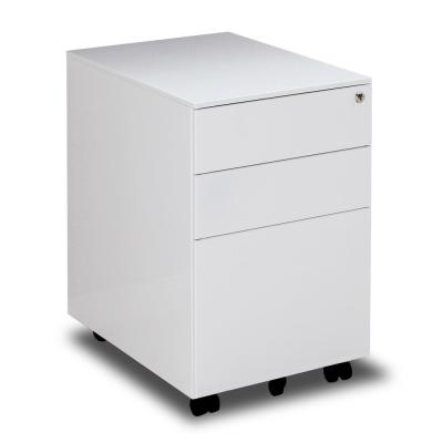 White 3-Drawers Metal File Cabinet Fully Assembled Except for Castors