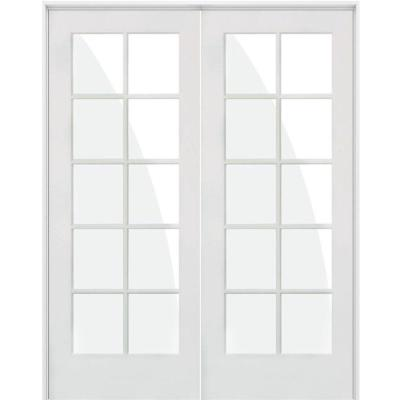 56 in. x 80 in. Craftsman Shaker 10-Lite Both Active MDF Solid Hybrid Core Double Prehung Interior Door