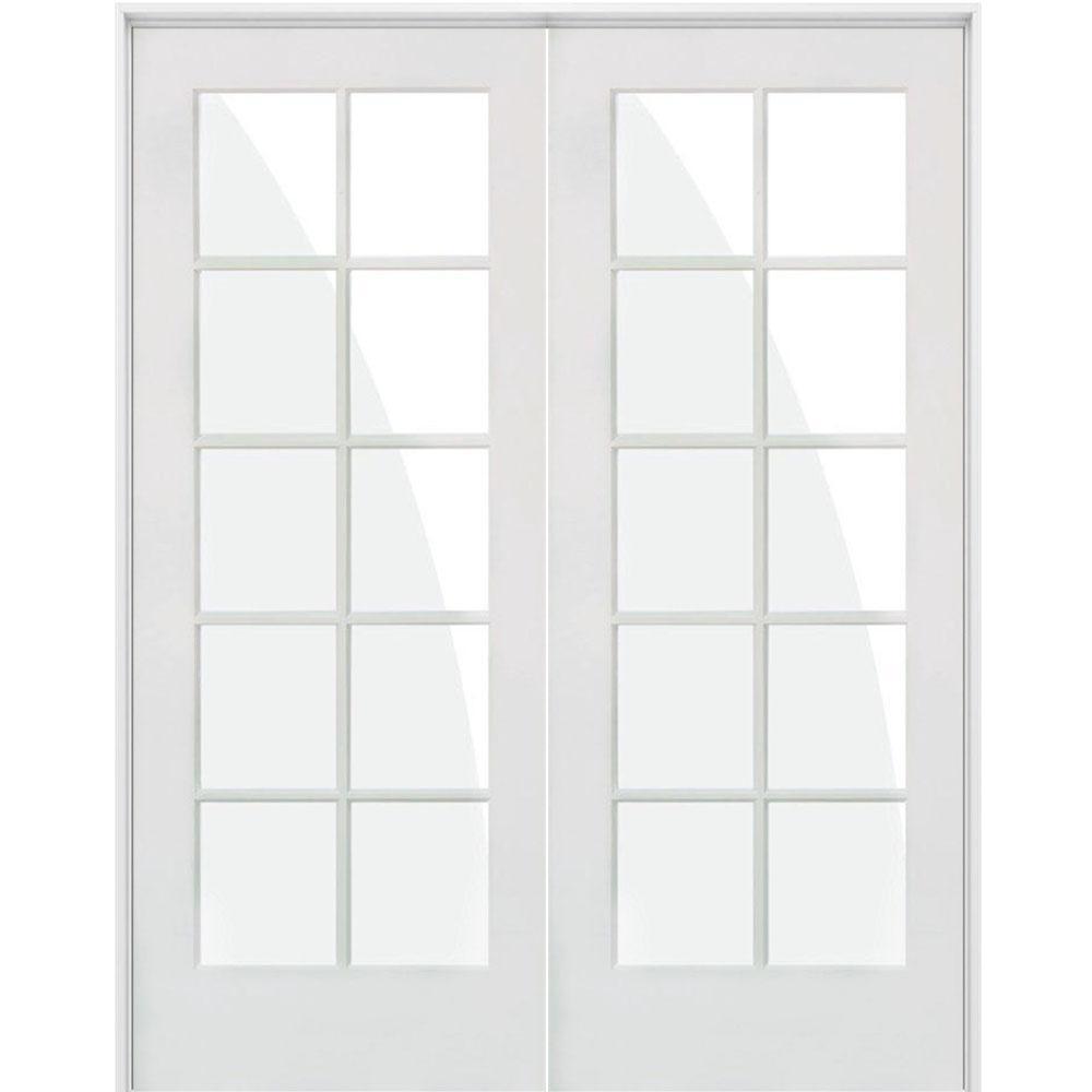 60 in. x 80 in. Craftsman Shaker 10-Lite Both Active MDF Solid Hybrid Core Double Prehung Interior Door
