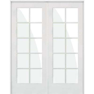 64 in. x 80 in. Craftsman Shaker 10-Lite Both Active MDF Solid Hybrid Core Double Prehung Interior Door