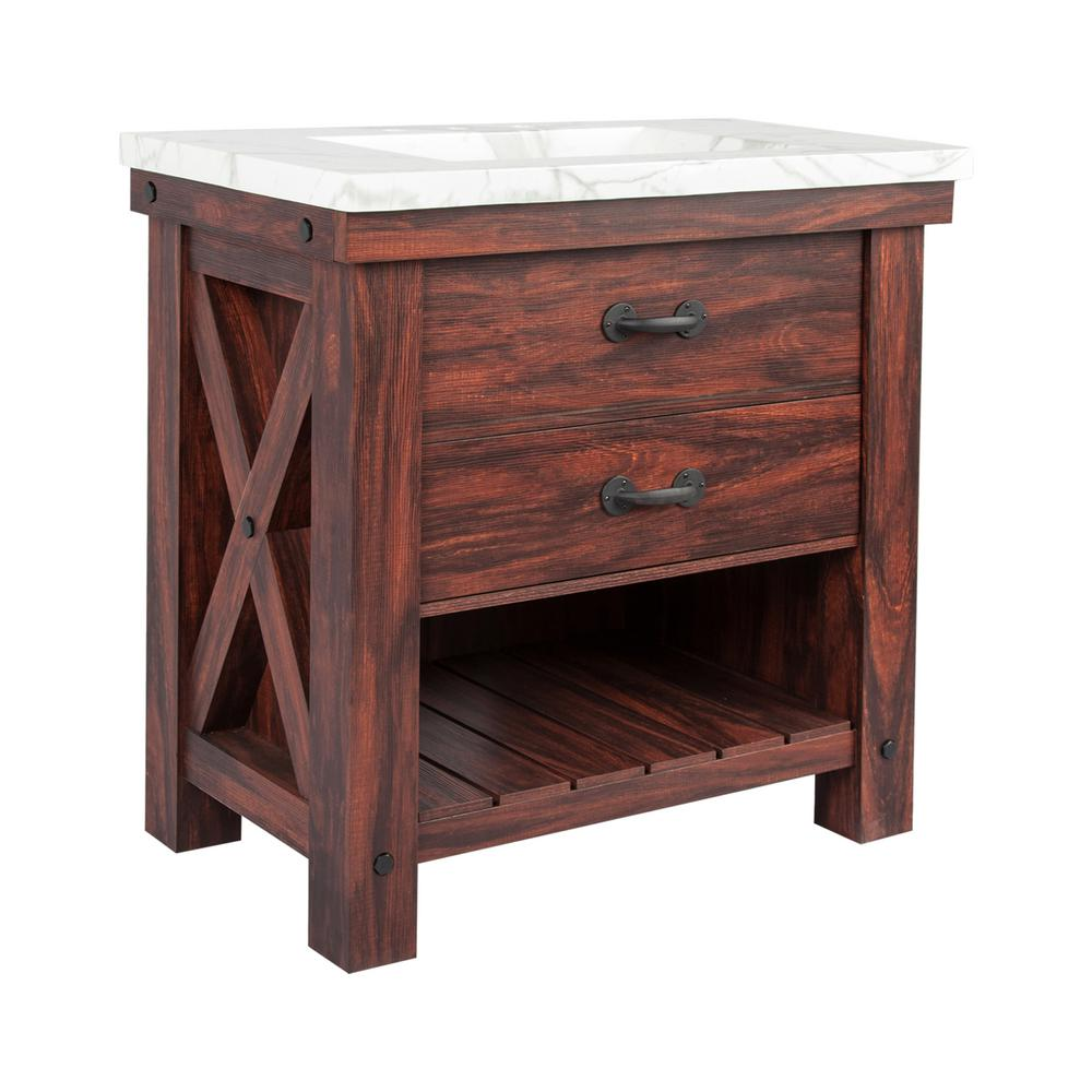 Braylin 36 in. W x 21 in. D Vanity in Walnut Wood Grain with Faux Marble Vanity Top in White with White Basin