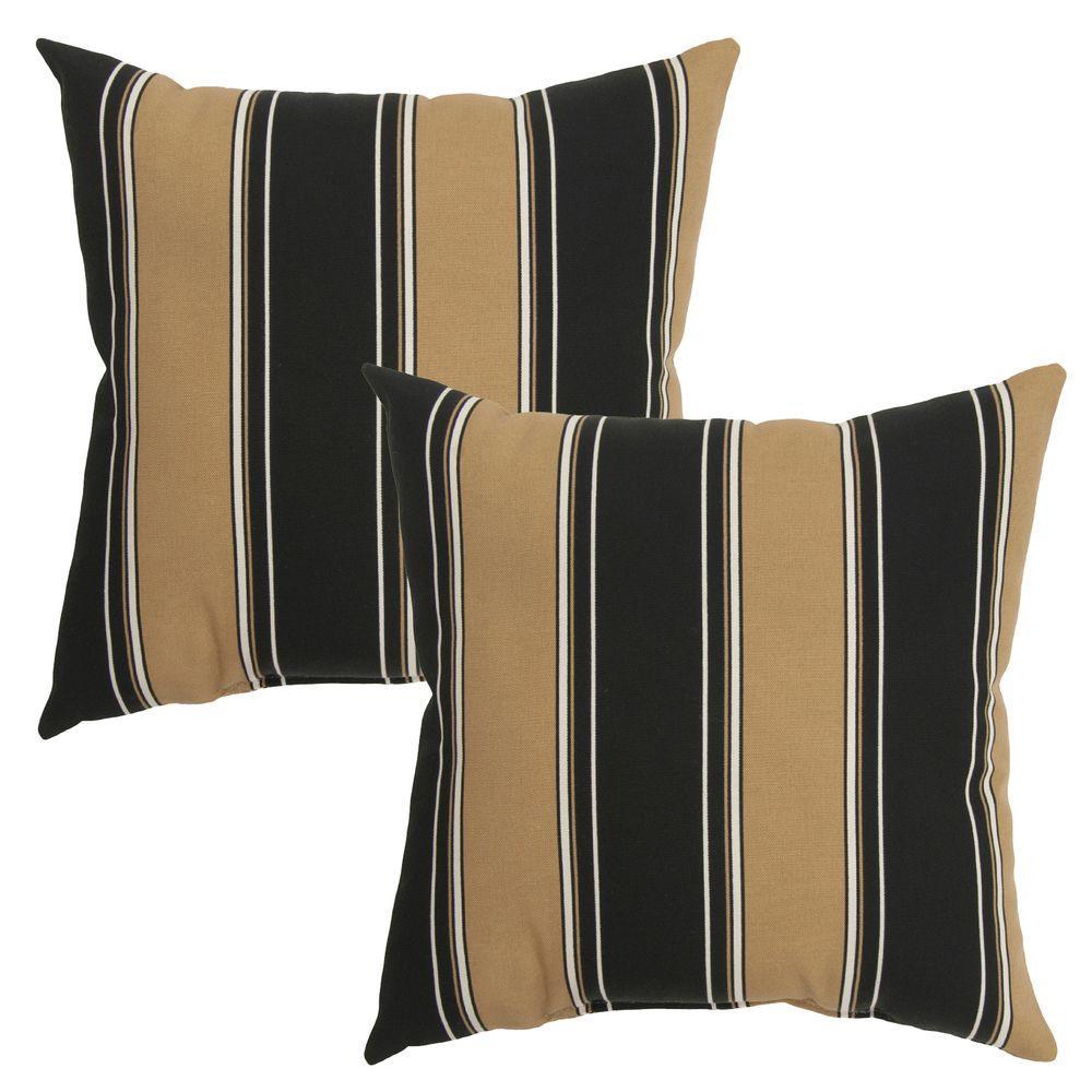 Hampton Bay 16 in. Twilight Stripe Outdoor Toss Pillow (2-Pack)