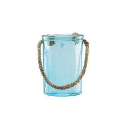 8 in. Transparent Azure Blue Hand Blown Bubble Glass Hurricane with Jute Handle