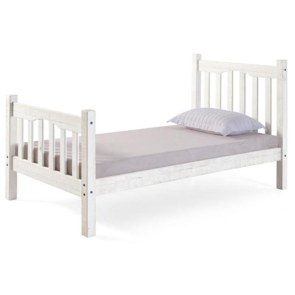 Rustic White Mission Twin Bed