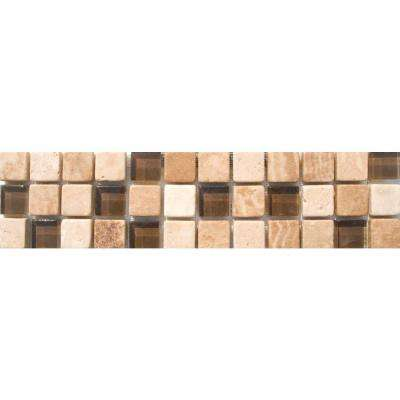Mixed 3 in. x 12 in. x 10 mm. Glass Stone Mesh-Mounted Border Tile